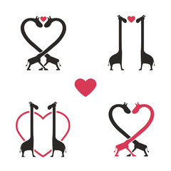 Shape Of Giraffe Animal Couple Love Icon Set - Vector