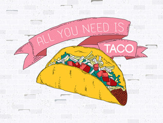 Classic taco hand drawn poster design