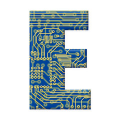 Letter from electronic circuit board alphabet on white backgroun
