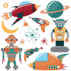 Colorful vector set with robots, spaceships and planets.