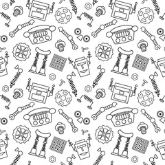 Vector seamless pattern with robot parts and details