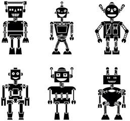 retro vector robots wall stickers