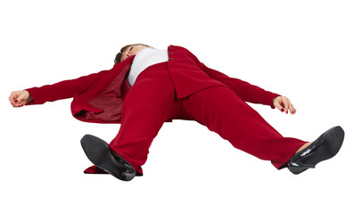 Woman lying unconscious on white background