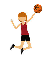 female athlete practicing basketball isolated icon design, vector illustration  graphic