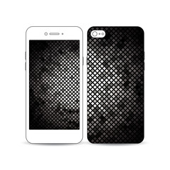 Mobile smartphone with an example of the screen and cover design isolated on white. Abstract polygonal background, modern stylish silver vector texture