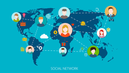 Social Network Vector Concept. Flat Design Illustration for Web Sites. Design.
