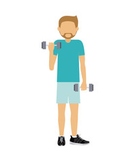 male athlete practicing weight lifiting  isolated icon design, vector illustration  graphic