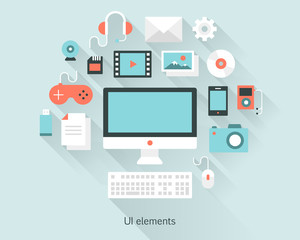 Content concept monitor with keyboard, documents and devices in flat design style.  Infographics and multimedia icons. Vector illustration.