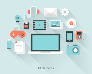 Content concept a laptop with documents and devices in flat design style.  Infographics and multimedia icons. Vector illustration.