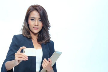 Portrait beautiful asian woman standing, Hold tablet  and nameca
