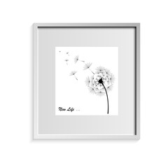 Dandelion in black with the inscription on a white background in a frame