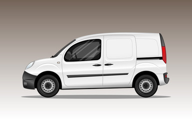 White commercial vehicle. Detailed vector illustration.