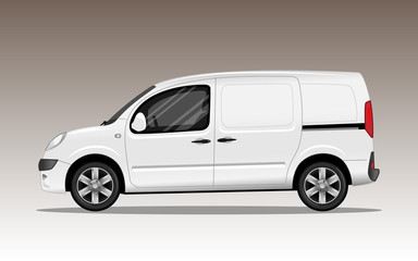 White commercial vehicle with alloy wheels. Detailed vector illustration.