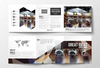 Set of tri-fold brochures, square design templates. Colorful polygonal background, blurred image, night city landscape, modern triangular vector texture