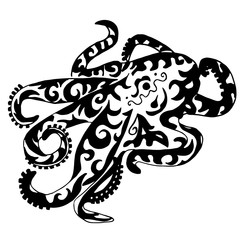 octopus for coloring or tattoo isolated on white background