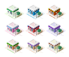 Isometric High Quality City Element on White Background. Greengrocer, Ice Cream Shop, Computer Shop, Veterinary, Pharmacy, Pet Shop, Toy Shop, Repair Shop and Hairdresser.