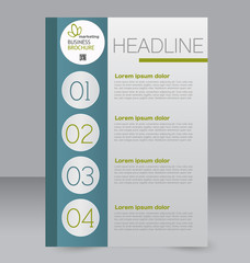 Corporate business flyer brochure design template. To be used for magazine cover, business mockup, education, presentation, report. Blue and green color.