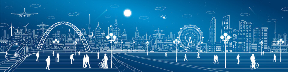 Fototapete - Amazing infrastructure and transport panorama. Train move, railway station, town square, people walk, night city skyline, arch bridge, airplane fly, vector design art