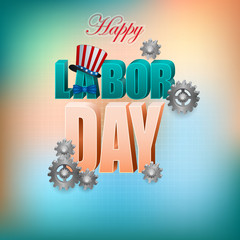 Holidays background with gears and American national colors for celebration of American Labor Day