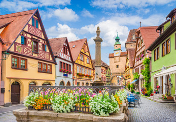 Medieval town of Rothenburg ob der Tauber, Bavaria, Germany Fototapete