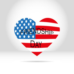 American flag in the form of heart on a white gray background