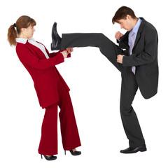Ьan puts a kick to woman