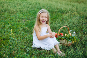 cute little girl with picnic basket sits on the grass  in the park
