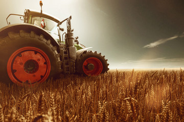 Traktor steht auf Getreidefeld