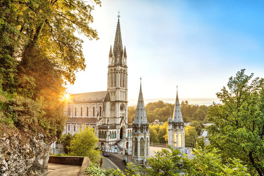 Rosary Basilica on sunset in Lourdes