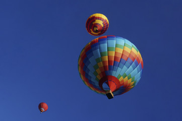 .Multicolored balloons in the sky