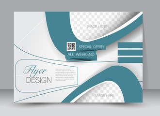 Flyer, brochure, billboard, magazine cover template design landscape orientation for education, presentation, website. Blue color. Editable vector illustration.