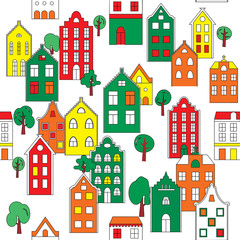 Seamless pattern background with european houses in bright color
