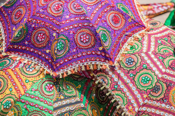 Part of an umbrella made from colorful indian cloth