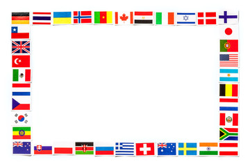 Frame of national flags the different countries of the world isolated