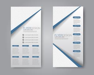 Vector flyer and leaflet design. Set of two side brochure templates. Blue color.