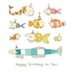 Birthday card with cute cartoon colorful fishes in party hats. Underwater life. Funny sea animals. Children's illustration. Vector contour image no fill. Doodle style.