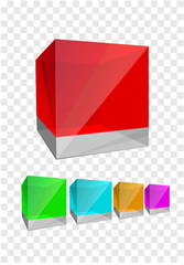 Isolated cubes, red, green, blue, ornage, purple.