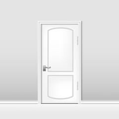 white room door, home interior design vector illustration