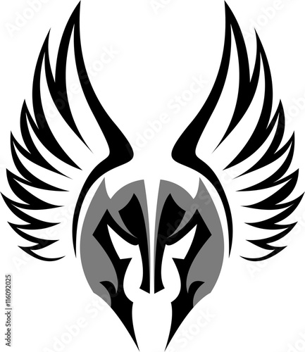 Logo Illustration Mask Of Spartan Warrior With Wing On Helmet Stock