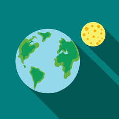 Earth and the Moon icon in flat style on a turquoise background