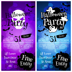 Two vertical orientation flyers for Halloween party.