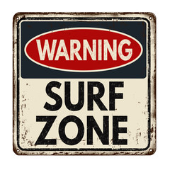 Warning surf zone vintage metal sign