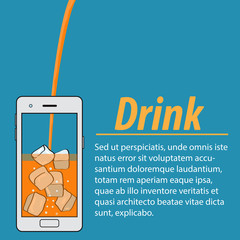 Orange juice with ice cubes in the phone