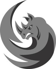 logo illustration rhinos symbol element