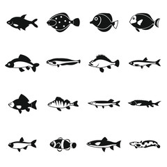 Cute fish icons set in simple style. Sea set collection isolated vector illustration