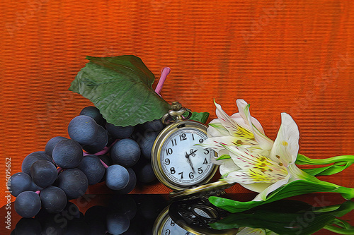 9c1c9f4a0 A still life of grapes, a pocket watch and some white Lilies