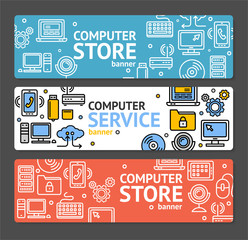 PC Service and Shop Banner Horizontal Set. Vector