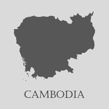 Gray Cambodia map - vector illustration