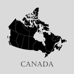 Black Canada map - vector illustration
