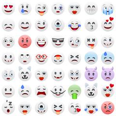 Set of White Emoticons.  White Smile Icons